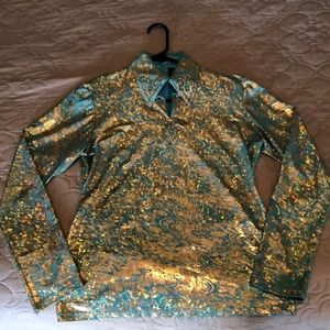 Teal and gold Hobby Horse show shirt